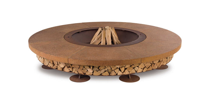AK47 Design Ercole Concrete Large Brown Wood-Burning Fire Pit - The Outdoor Fireplace Store