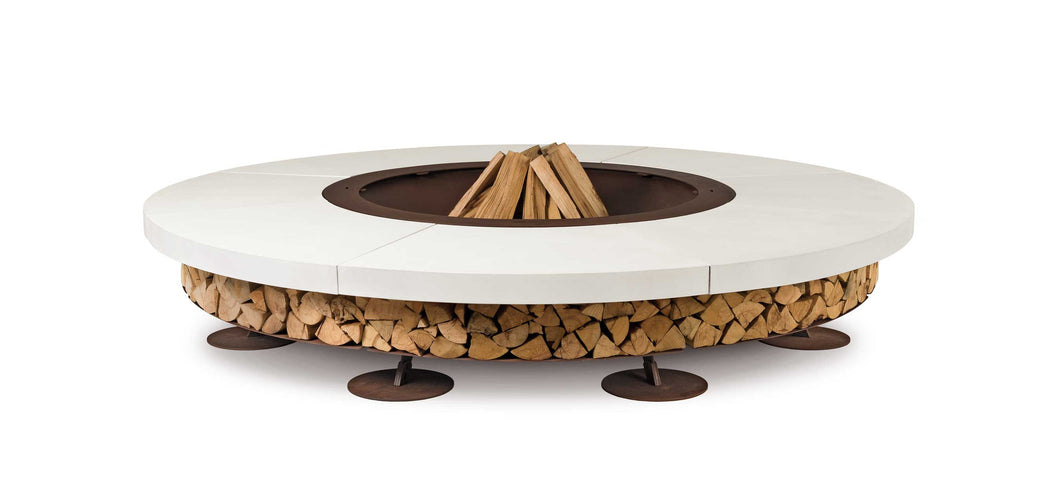 AK47 Design Ercole Concrete Large White Wood-Burning Fire Pit - The Outdoor Fireplace Store