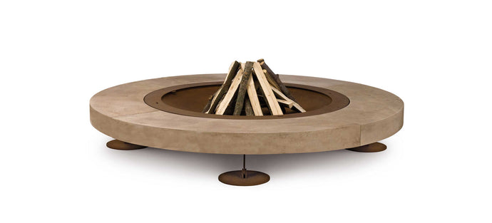 AK47 Design Rondo Santafiora Trachyte Stone Wood-Burning Fire Pit - The Outdoor Fireplace Store