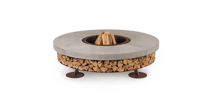 AK47 Design Ercole Concrete Small Basic Grey Wood-Burning Fire Pit - The Outdoor Fireplace Store
