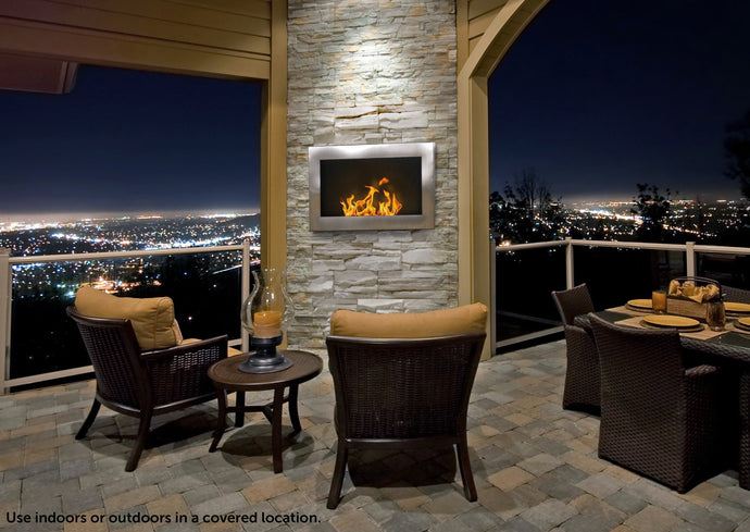 Anywhere Fireplace SoHo Indoor Wall Mount - Stainless Steel - The Outdoor Fireplace Store