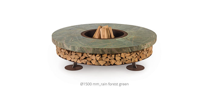 AK47 Design Ercole Rain Forest Green Marble Large Wood-Burning Fire Pit - The Outdoor Fireplace Store
