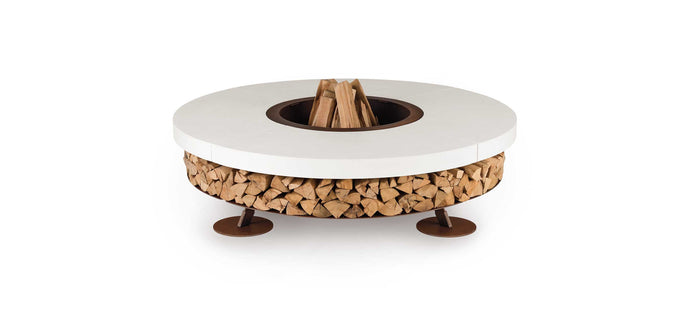 AK47 Design Ercole Concrete XSmall White Wood-Burning Fire Pit - The Outdoor Fireplace Store