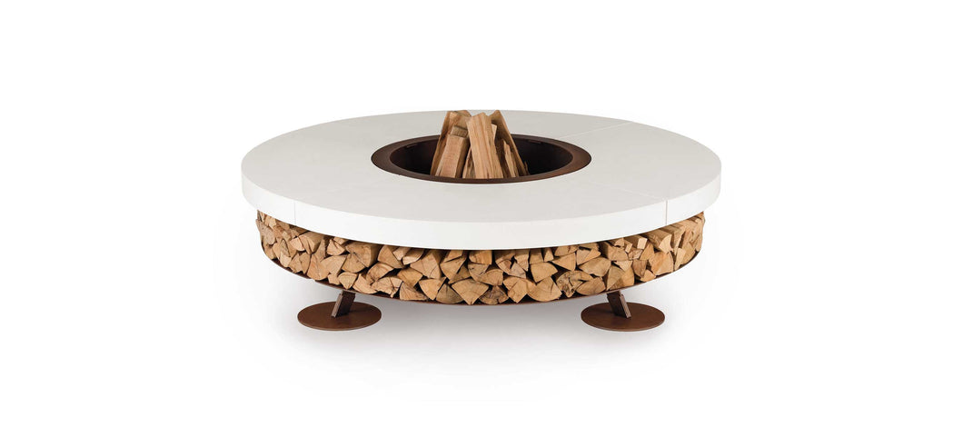 AK47 Design Ercole Concrete Small White Wood-Burning Fire Pit - The Outdoor Fireplace Store