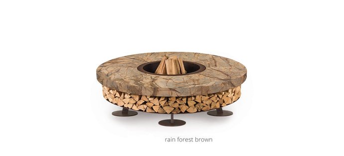 AK47 Design Ercole Rain Forest Brown Marble Large Wood-Burning Fire Pit - The Outdoor Fireplace Store