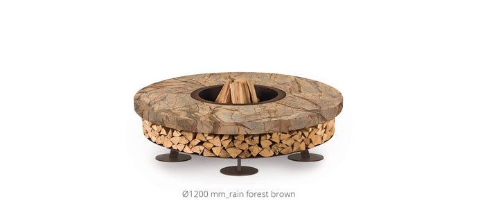 AK47 Design Ercole Rain Forest Brown Marble XSmall Wood-Burning Fire Pit - The Outdoor Fireplace Store