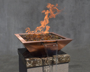 "Top Fires 30"" Square Copper Fire & Water Bowl Electronic OPT-30SCFWE - The Outdoor Fireplace Store"