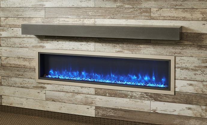 Outdoor GreatRoom Polished Midnight Mist Linear Supercast Mantel GMMMT - The Outdoor Fireplace Store