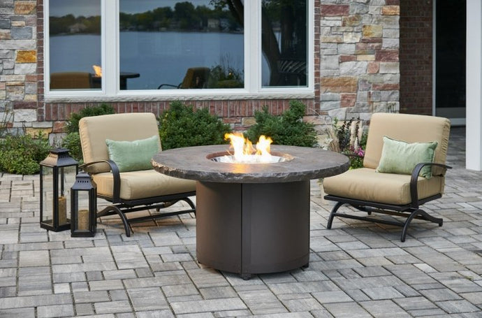 Outdoor GreatRoom Beacon Gas Fire Pit Table Marbleized Noche Chat Height BC-20-MNB - The Outdoor Fireplace Store