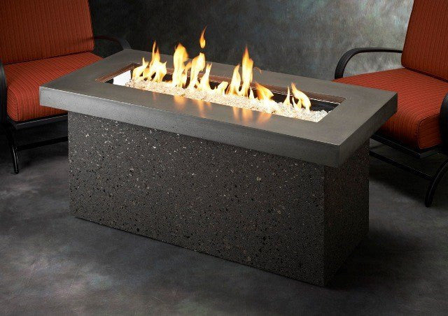 Outdoor GreatRoom Linear Key Largo Fire Pit Table Midnight Mist Top - The Outdoor Fireplace Store