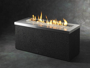 Outdoor GreatRoom Linear Key Largo Fire Pit Table Stainless Steel Top - The Outdoor Fireplace Store