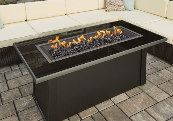 Outdoor Greatroom Linear Monte Carlo Fire Pit Table Black