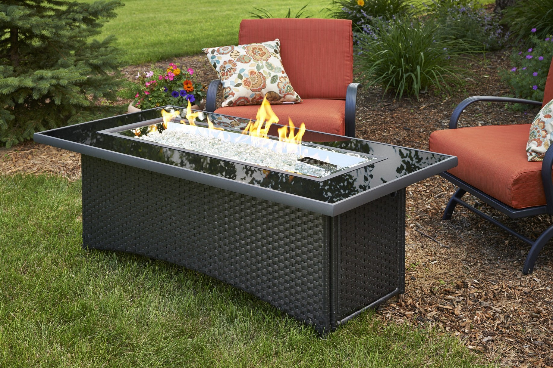 Outdoor Greatroom Linear Montego Fire Pit Table Black Glass Top The Outdoor Fireplace Store