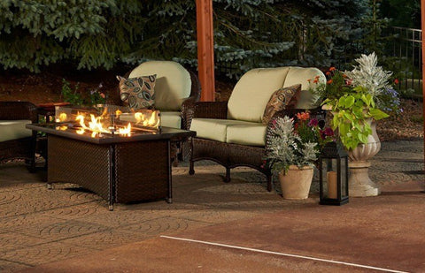 Outdoor Greatroom Linear Montego Fire Pit Table Black Glass Top