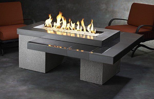 Outdoor GreatRoom Linear Uptown Fire Pit Table Black Granite UPT-1242 - The Outdoor Fireplace Store