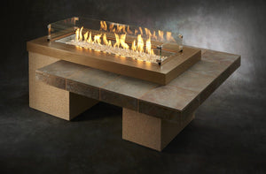 Outdoor GreatRoom Linear Uptown Fire Pit Table Brown Porcelain Tile - The Outdoor Fireplace Store
