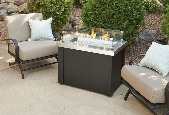 Outdoor GreatRoom Providence Fire Pit Table Stainless Steel Top - The Outdoor Fireplace Store