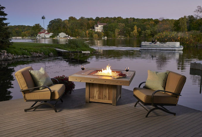 Outdoor GreatRoom Square Vintage Fire Pit Table Mocha Supercast Top - The Outdoor Fireplace Store