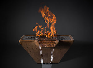 "Slick Rock 22"" Cascade Square Fire on Water with Electronic Ignition - The Outdoor Fireplace Store"