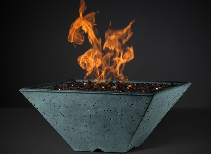 Slick Rock Ridgeline Square Fire Bowl - Match Lit - The Outdoor Fireplace Store