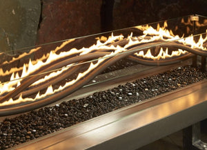 "Outdoor GreatRoom 56"" Linear Black Wave Gas Burner - The Outdoor Fireplace Store"