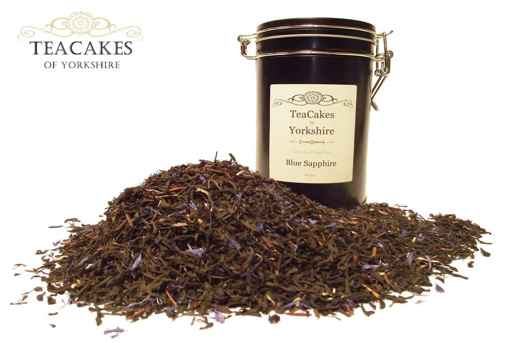 Black Loose Leaf Tea Gift Caddy Blue Sapphire 100g - TeaCakes of Yorkshire