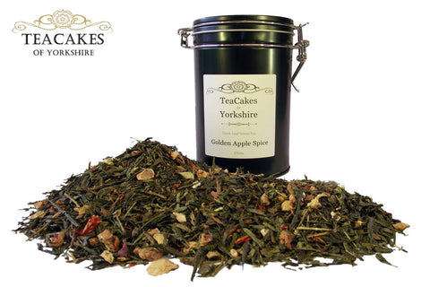 Green Loose Leaf Tea Golden Apple Spice 100g Gift Caddy - TeaCakes of Yorkshire