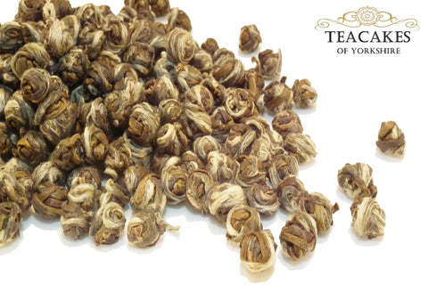 Jasmine Pearls Tea Green Loose Leaf Rolled 50g - TeaCakes of Yorkshire