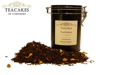 Christmas Mulled Spice Tea Gift Caddy Black Flavoured Leaf 100g - TeaCakes of Yorkshire