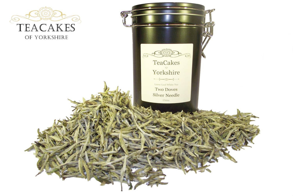 Two Doves Silver Needle Tea Gift Caddy White Loose Leaf 50g - TeaCakes of Yorkshire