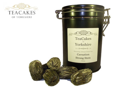 Carnation Flowering Artisan Tea Gift Caddy 6 Balls - TeaCakes of Yorkshire