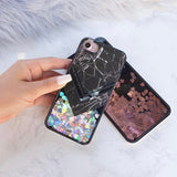 Liquid Glitter iPhone 6 Case Marble Grey Black - Silver Hearts