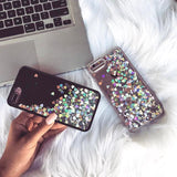 Liquid Glitter iPhone 6 Case Black with Silver Hearts