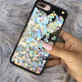 Liquid Glitter iPhone 7 PLUS Case Black with Silver Hearts