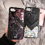 Liquid Glitter iPhone 7 Case Marble Grey Black - Silver Hearts