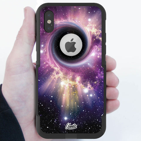 Black Hole Nebula Hybrid Case for iPhone - Black Case
