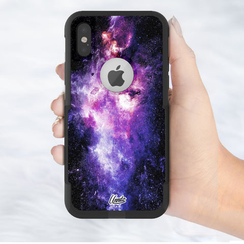 Nebula Pink Blue Hybrid Case for iPhone - Black Case
