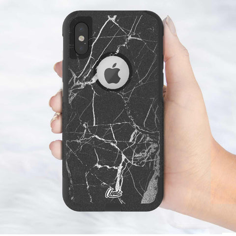 Marble Black and Grey Hybrid Case for iPhone - Black Case