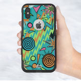 90s pattern Hybrid Case for iPhone - Black Case