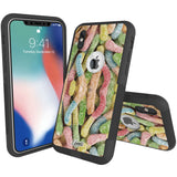 Sour Gummy Worms Hybrid Case for iPhone - Black Case