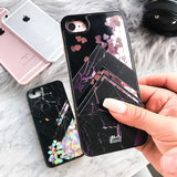 iPhone 7 Case Magenta Marble Black [Liquid Glitter - Pink Hearts] Unnito Case