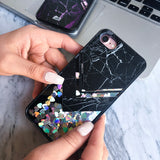 iPhone 7 Case Marble Grey Black [Liquid Glitter - Silver Hearts] Unnito Case