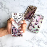 iPhone 6 Case Marble Carrera White [Liquid Glitter - Pink Hearts] Unnito Case