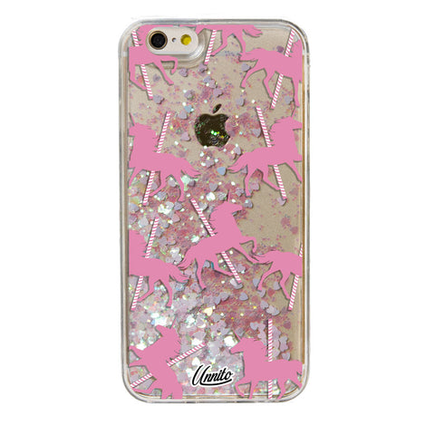 iPhone 6 Case Unicorn Carousel [Liquid Glitter - White Hearts] Unnito Case
