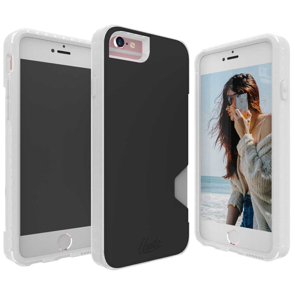 iPhone 6 Wallet Case, iPhone 6S Card Case Unnito CardTender Case, [Dual Layer] Protective [Custom] - Clear/Black