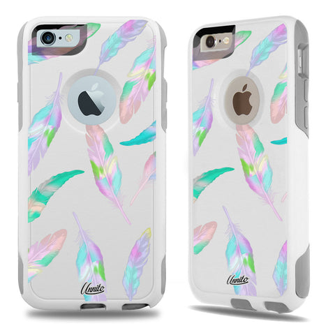 iPhone 6 Case White Hybrid Candy Feathers by Unnito