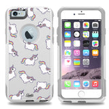 iPhone 6 PLUS Case White Hybrid Rolly Polly Unicorns by Unnito