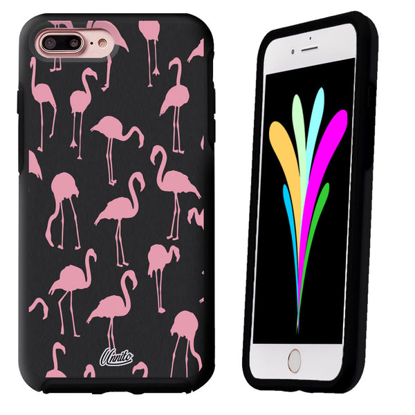 iPhone 7 Case Black Symmetry Pink Flamingos by Unnito