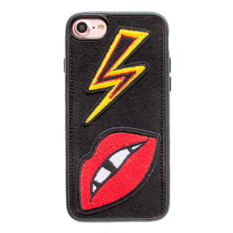 iPhone 6 Denim Case Bolt Lips Patch - Black Crusader