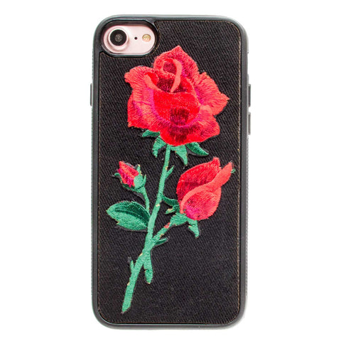 iPhone 6 Denim Case Rose Patch - Black Crusader